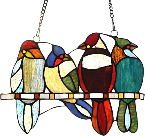 Capulina Stained Glass Window Hangings, Handcraft 4 Birds in Color Glass Window Panel with Chain, Art Glass Suncacthers for Windows – Tiffany Style