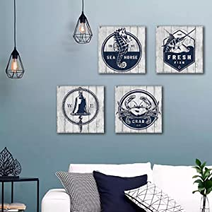 Bedroom Vintage Abstract Canvas Wall Art, Navy Blue Marine Life Bathroom Wall Decor,Ocean Animal Artwork Decor Canvas Prints Painting for Kitchen Home Office Kid's Gift 12x12inx4