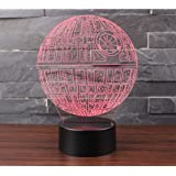 3D Lámpara de Escritorio Mesa 7 cambiar el color botón táctil de escritorio del USB LED lámpara de tabla ligera Decoración para el Hogar Decoración para Niños Mejor Regalo (estrella de la Muerte)