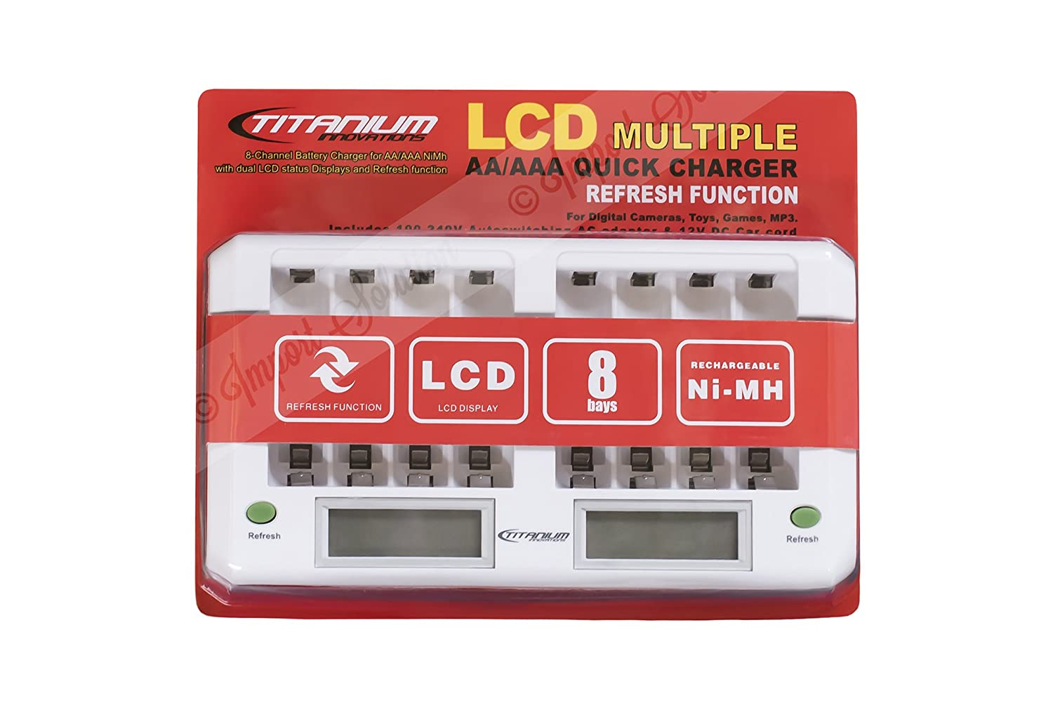 Titanium TITANIUM-CH-8800 100-240V AC 8-Bay Smart Fast Battery Charger LCD Display DC Chargers