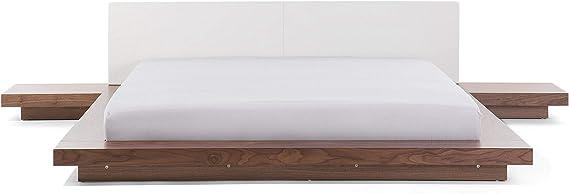 Cama de matrimonio de madera marrón claro y cabecero de piel sintética blanca – Cama de estilo japonés con mesillas – 180 x 200 cm – Zen