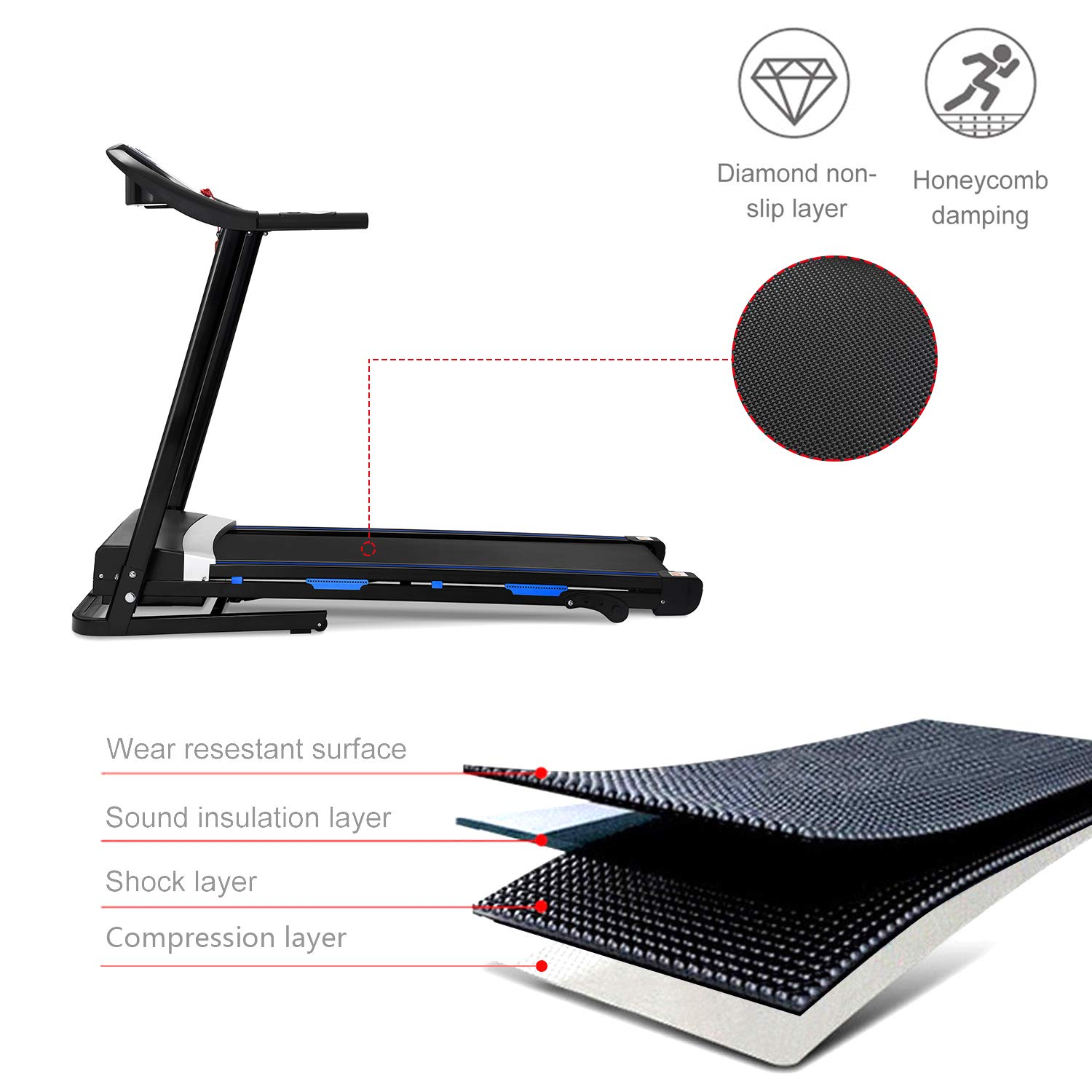 Rhomtree Folding Treadmill Motorized Running Jogging Exercise Machine with Incline Large Heavy Duty Health Fitness Equipment Easy Assembly