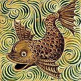 Pattern fish by William De Morgan Accent Tile Mural Kitchen Bathroom Wall Backsplash Behind Stove Range Sink Splashback One Tile 6'' Ceramic, Glossy