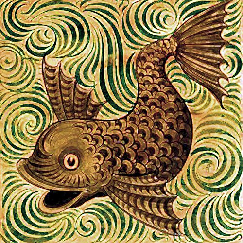 Pattern Fish by William De Morgan Accent Tile Mural Kitchen Bathroom Wall Backsplash Behind Stove Range Sink Splashback One Tile 6