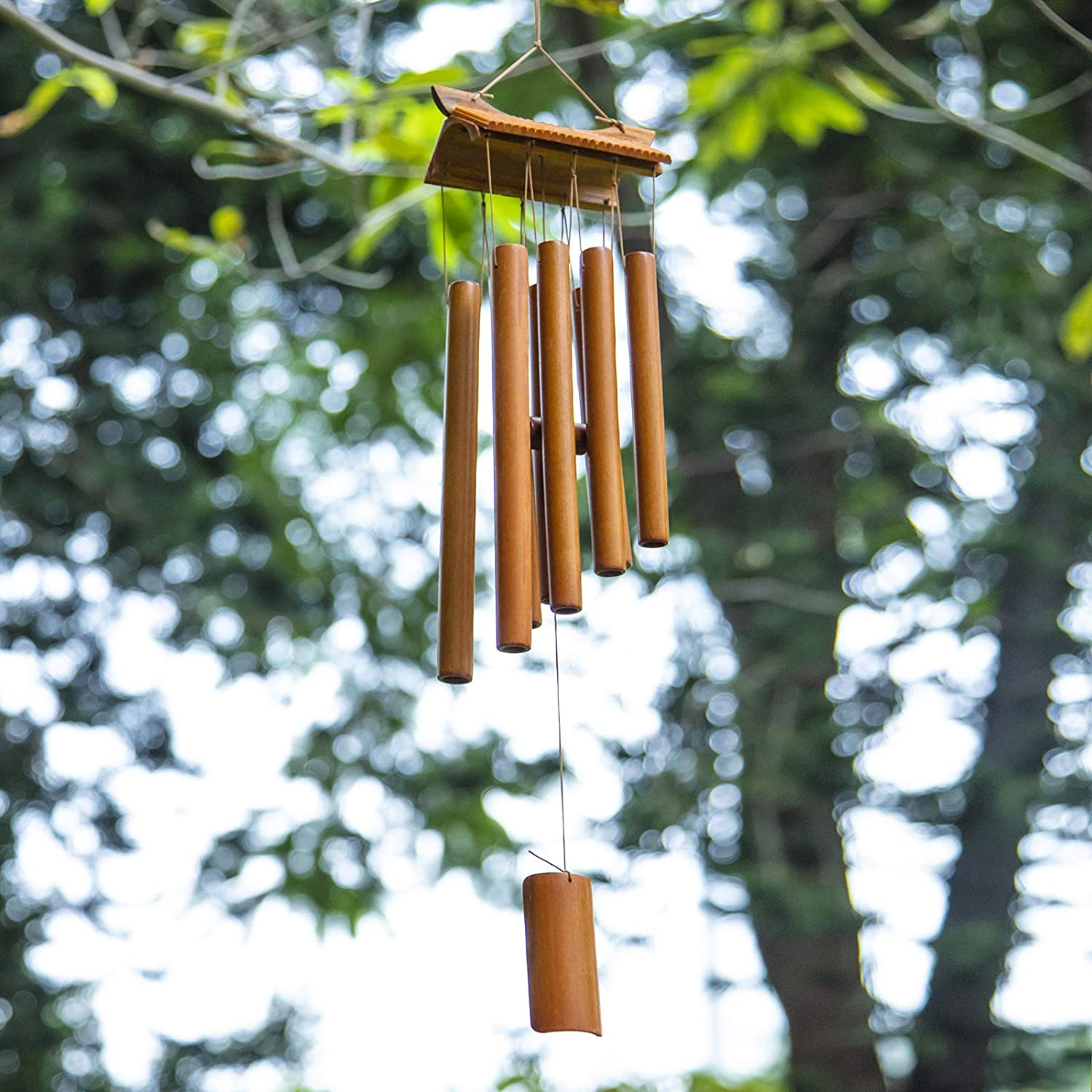 Bamboo Wind Chimes Outdoor - Music Wind Chime with Rotating Hook, Handmade Craft Decor for Garden, Patio, Home or Outdoor(Bamboo Pavilion)