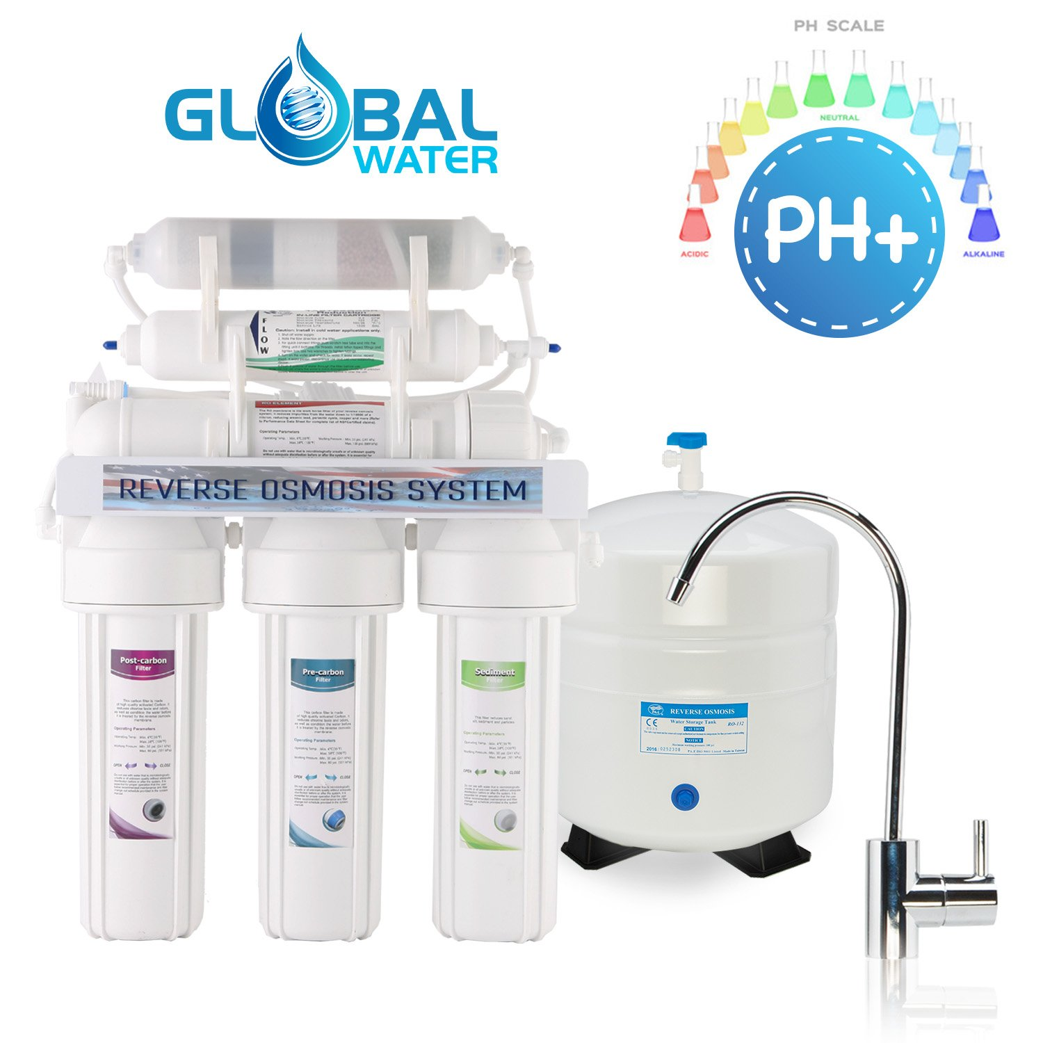 Global Water ROPH9 10-Stage ALKALINE Reverse Osmosis System Drinking Water Quality - 24hour USA Tech Support - Plus Extra Set of 4 Filters for FREE