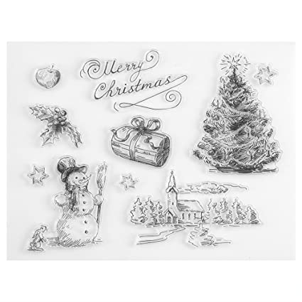 Amazon Com Fdit Christmas Snowman Tree Silicone Clear Stamp