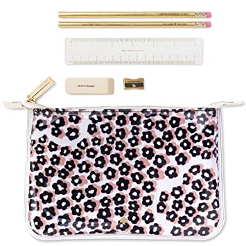 Kate Spade New York Double Layer Pencil Pouch   Includes 2 Pencils, Sharpener, Eraser, Ruler   Flair Flora