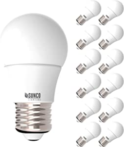 Sunco Lighting 12 Pack A15 LED Bulb, 8W=60W, 3000K Warm White, Dimmable, 800 LM, E26 Base, Refrigerator & Fan Light - UL, Energy Star