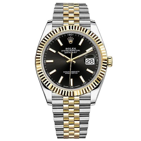 Rolex Datejust 41 Reloj de oro amarillo de cartucho de acero Jubileo Pulsera Negro Dial 126333