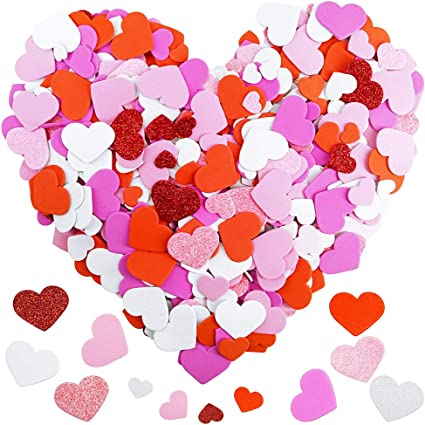 Neon Pink Hearts Garland Supplies Pink Foam Hearts Dorm Room Decor Party Decorations Gold Stars Gift Tags Glitter Hearts