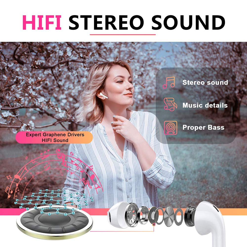 Bluetooth Headphones, Bluetooth 5.0 Wireless Earbuds, 3D Stereo 24H Playtime Wireless Sports Headset, IPX5 Waterproof, Pop-ups Auto Pairing for Airpods Android/iPhone Samsung (2019NewEarbuds)