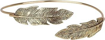 SIX Ethno-Chic Upperarm-Cuff: Goldfarbener Armreif für den Oberarm mit ethnischen Ornamenten, modellierten Federn an den Abschlüssen, offene (460-684)