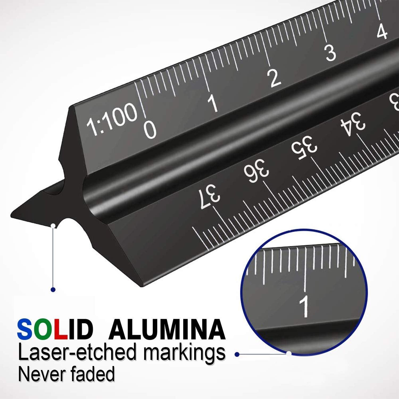 1:100 Scale Ruler Architect 30cm Ruler 12 inch Triangular Architects Scales Ruler Metal Aluminum Metric 1:20 1:75 1:50 1:25 1:125