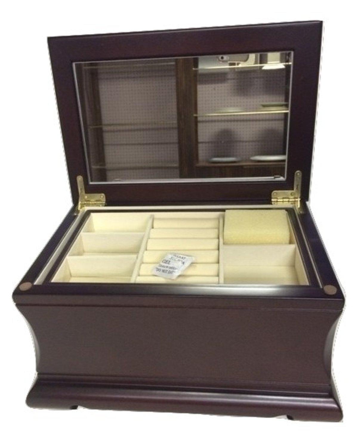 Amazon.com: Elegante joyero de madera, fieltro antimanchas ...