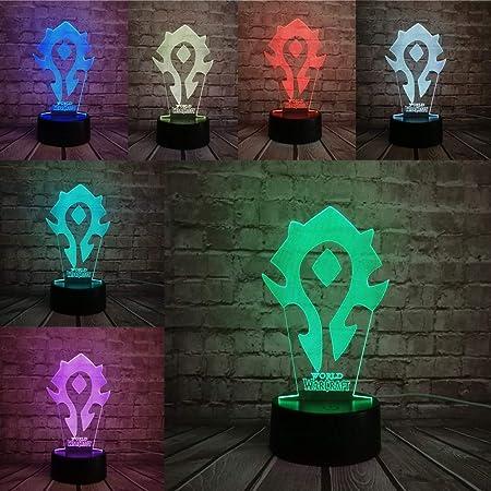 yuandp Lámpara 3D Juego Wow Signos Tribales Mesa de Escritorio de 7 Colores Luz de Noche LED Niños Niños Vacaciones Navidad Regalo de ilusión: Amazon.es: Hogar
