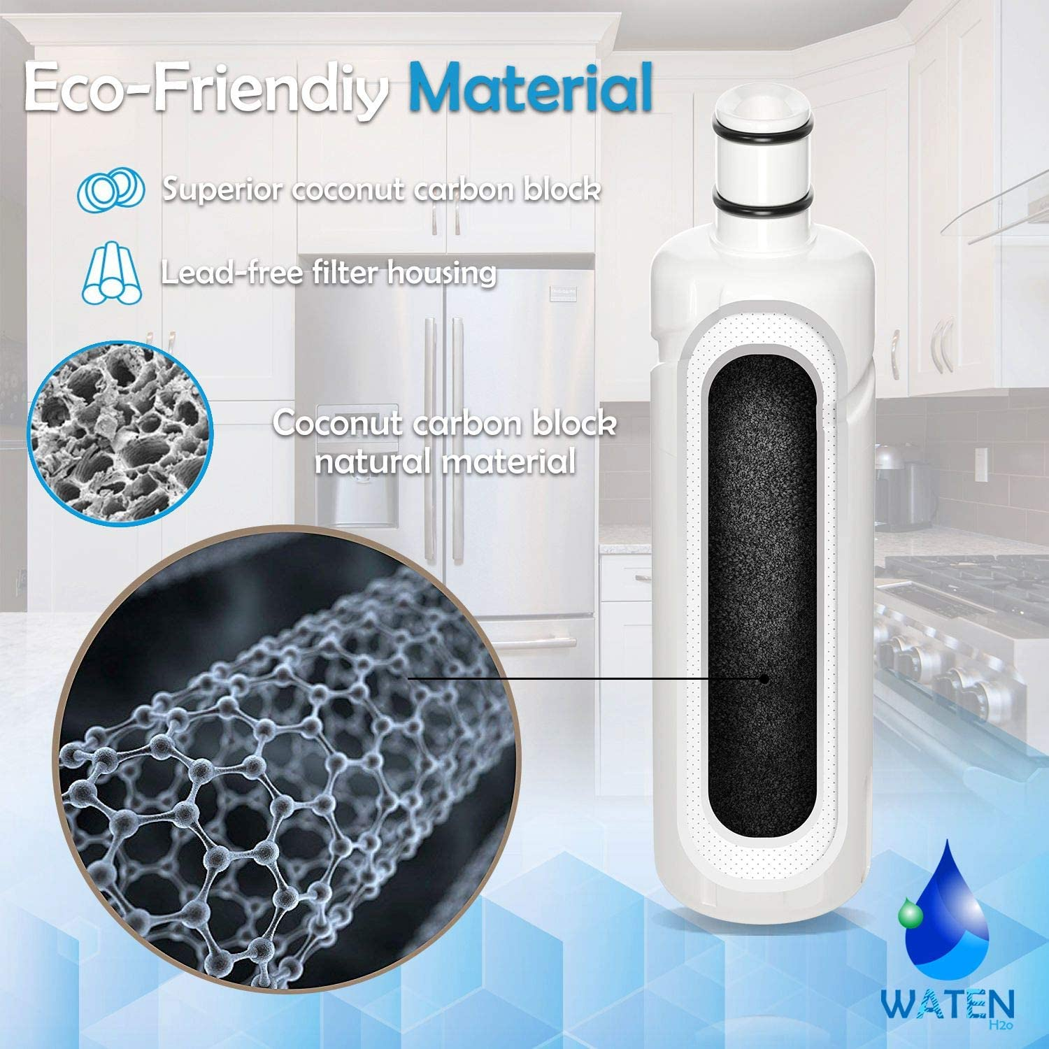 WATEN H2O W10413645A Refrigerator Water Filter Cap Compatible with Kenmore 9082,9903,P6RFWB23 EDR2RXD1 3Packs