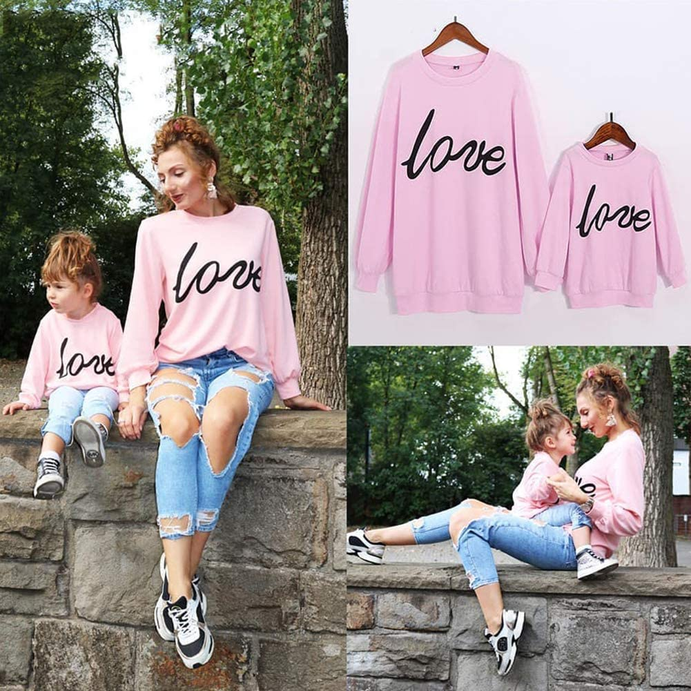 PopReal Mommy and Me Matching Outfits Love Print Long Sleeve Clothes Pullover Sweatshirt 517ZJkUKxzL