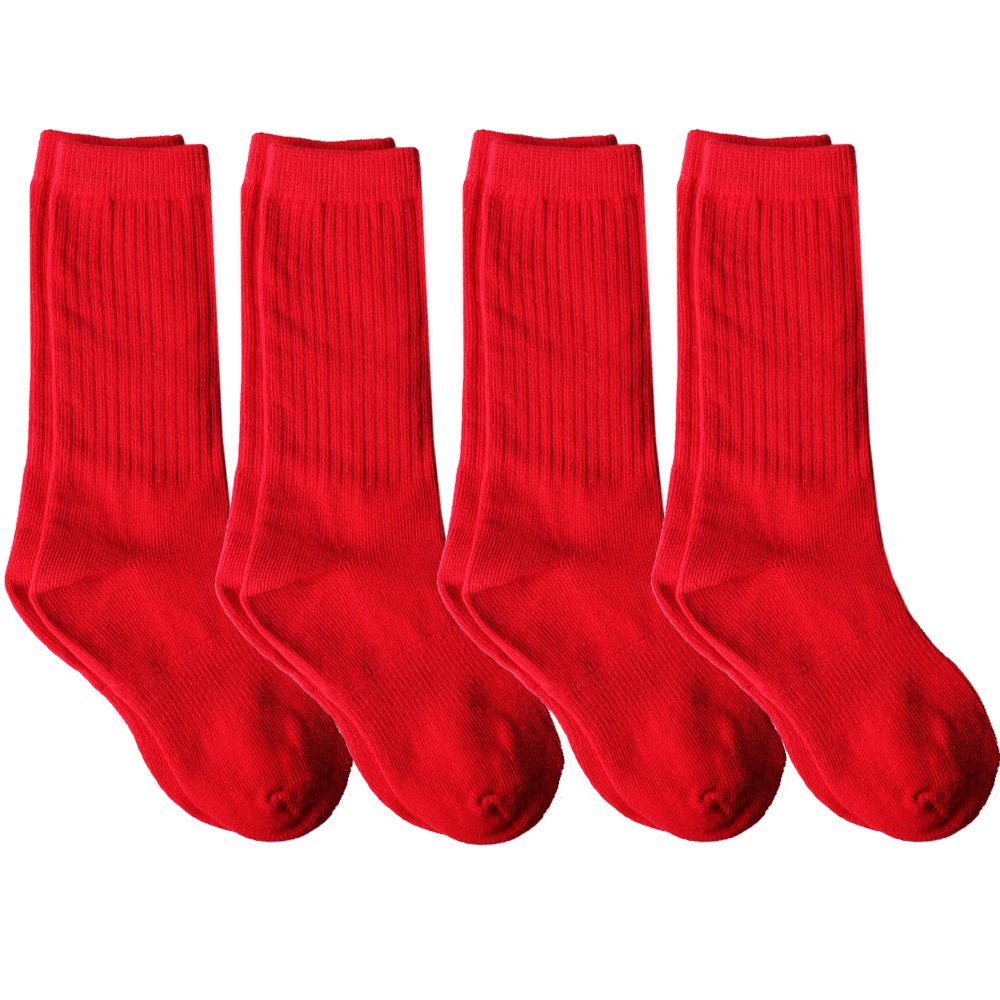 Amazon.com: 4 Pack of Mid-Calf Ribbed Socks with arch support for School Uniform, Sports, AFO etc.: Clothing