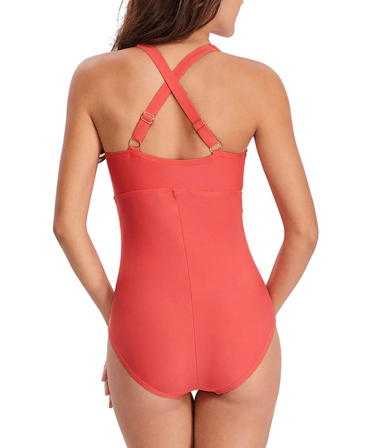 Zando One Piece Swimsuits for Women Pure Color Tummy Control Swimming Suit Bathing Suits Monokinis MNFUBS2790G0000