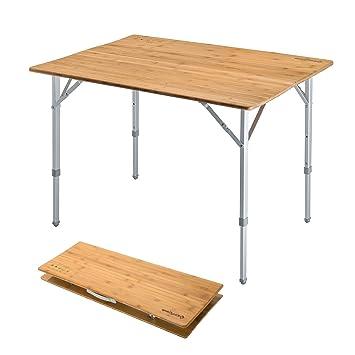 Amazon.com: KingCamp - Mesa plegable de bambú con marco de ...