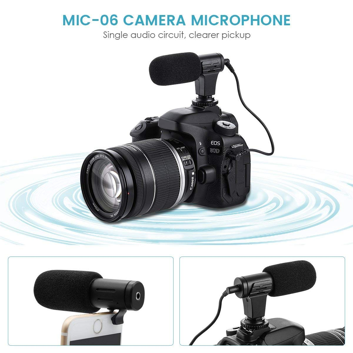 Camera Microphone Eivotor Mic 06 35mm Digital Video Wireless Circuit Audiocircuit Recording For D Slr Dv Mobile Phone And Computer Black