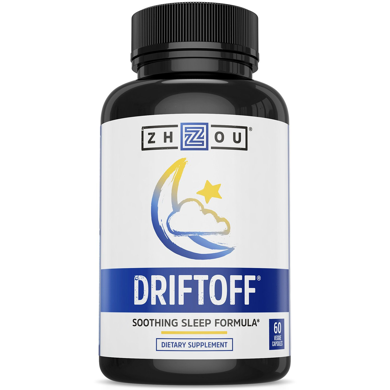 DRIFTOFF Premium Sleep Aid with Valerian Root & Melatonin - Sleep Well, Wake Refreshed - Non Habit Forming Sleep Supplement - Also Includes Chamomile, Tryptophan, Lemon Balm & More - 60 Veggie Caps
