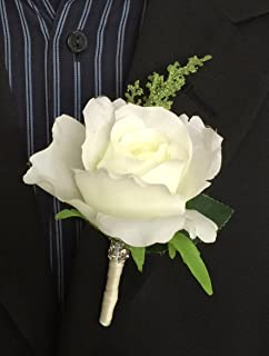 boutonniere nice cream rose with greenery ribbon wrapped stem - Garden Rose Boutonniere