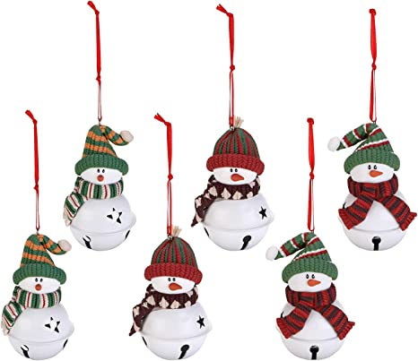 Amazon Com Sea Team Assorted Clay Figurine Jingle Bell Ornaments Traditional Snowman Doll Hanging Charms Christmas Tree Ornament Holiday Decorations 6 Piece Home Kitchen