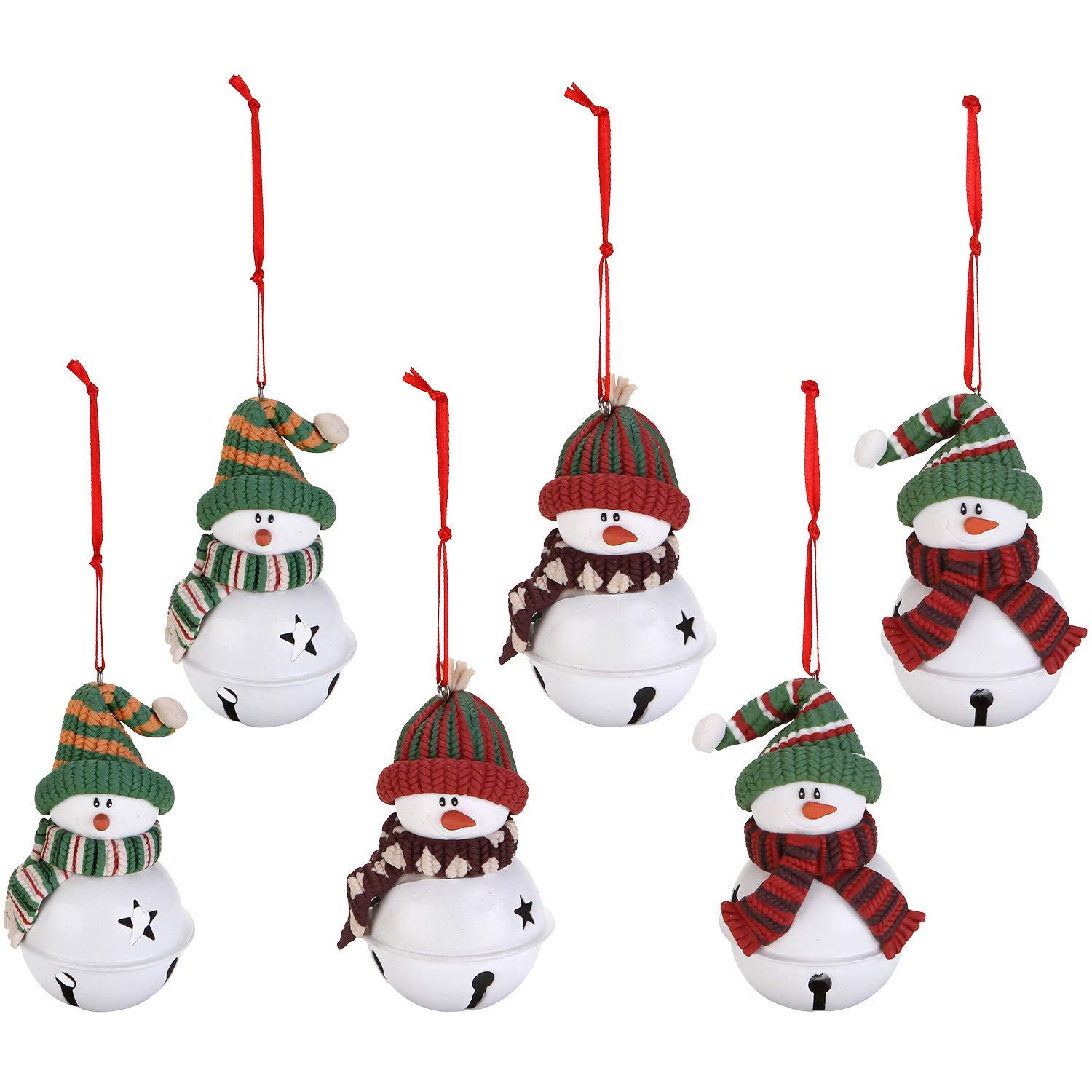 Sea Team Assorted Clay Figurine Jingle Bell Ornaments Traditional Snowman, Santa Clause, Reindeer Doll Hanging Charms Christmas Tree Ornament Holiday Decorations (6 Piece) ST-CLAYDOLL002-Santa