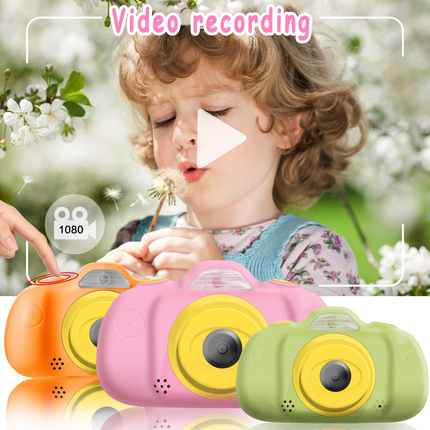 [NEW]2.4'' Kids Camera 12MP Kid Gift Toy DUAL Lens Camera 3-10 Years Girl boy HD 1080P Selfie Camera Mini Child Digital Camcorder with Puzzle Game,MP3 Kid Outdoor Camera Birthday Gift[Free 16G SD Card] by Camlinbo (Image #4)