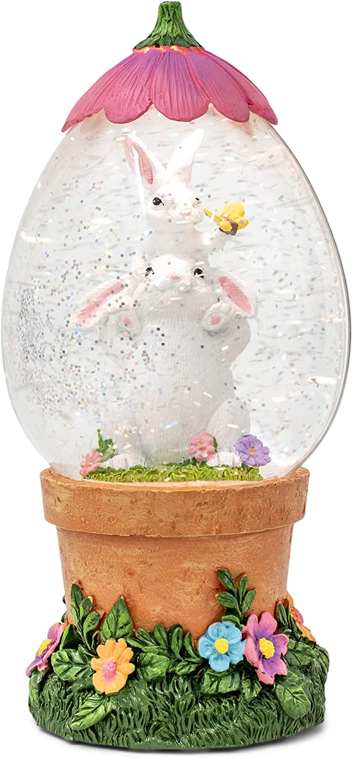 RAZ Imports Easter Bunny Friends in Flower Pot LED Lighted Water Lantern, Spring Snow Globe with Continuously Swirling Glitter, 9-Inches High