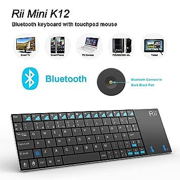 Rii Mini K12 Teclado Bluetooth Inalámbrico con Multi-touchpad Para PC, Smart TV,Tablet,Smartphone QWERTY español)incluye Ñ (Rii mini K12 Bluetooth): ...