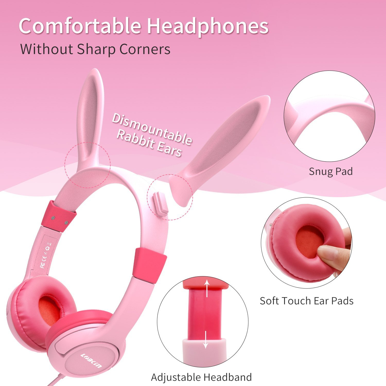 Kids Headphones, Lobkin Bunny Ear Wired On-Ear Earphones,Bluetooth Headsets Kids Friendly Safe Food Grade Material,Children Volume Limited Headphones -Pink