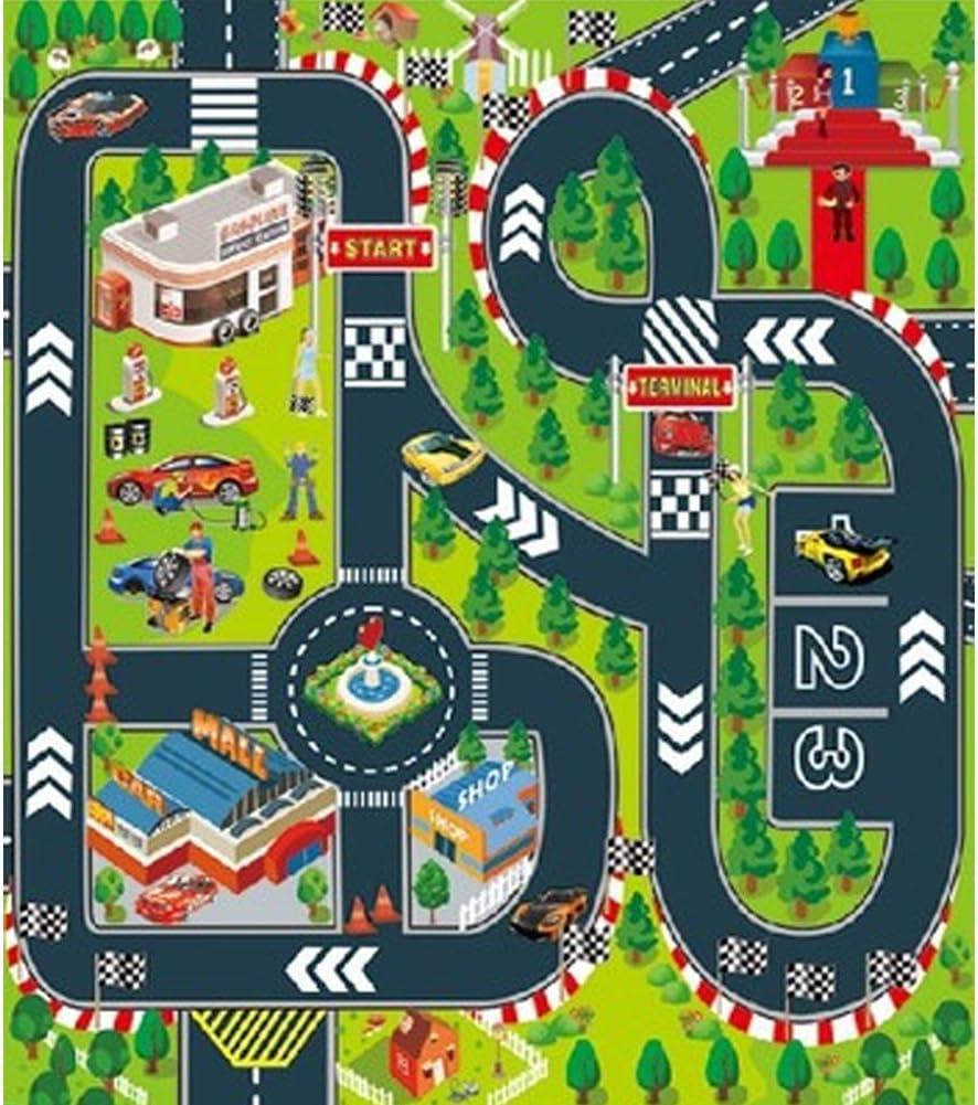 Alfombra de juegos para niños, ideal para jugar con coches y juguetes, alfombra de juegos educativa, ideal para niños viajes/interiores y exteriores, de forma segura