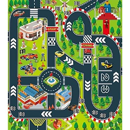 UK Kids City Road Play Mat Childrens Car Road Carpet Rug Toy Playmat Waterproof