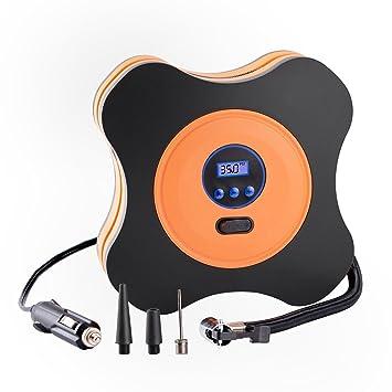 SODIAL Bomba portatil del compresor de aire del coche del inflador 12V DC Infladora automatica del neumatico del 150PSI Digital para coches, bicicletas y ...