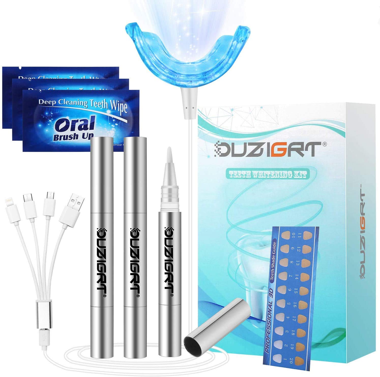 Teeth Whitening Kit Professional, OUZIGRT Teeth Whitening Kit with Led Light Without Sensitivity, 3 Teeth Whitening Pens, Whitens in 15 Minutes, Teeth Whitening Kit at Home Use