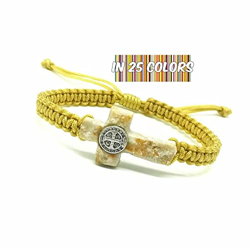 Amazon Com Cross Bracelet With St Benedict Medal And Medjugorje