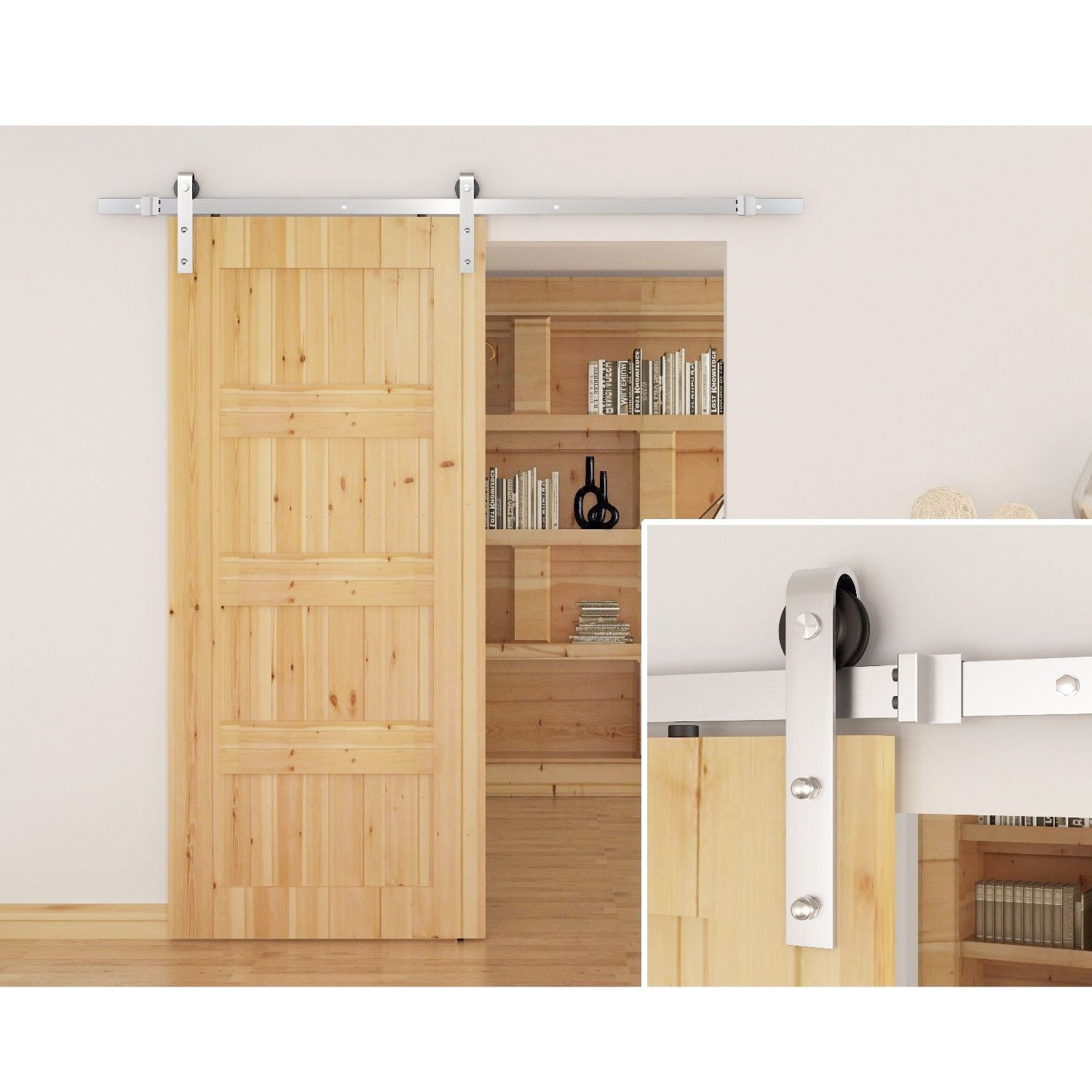 SMARTSTANDARD SDH0080STAINLESS03 Stainless Steel Sliding Barn Door Hardware Kit, 8ft Single Rail,Silver, Super Smoothly and Quietly, Simple and Easy to Install, Fit 48'' Wide DoorPanel by SMARTSTANDARD (Image #2)