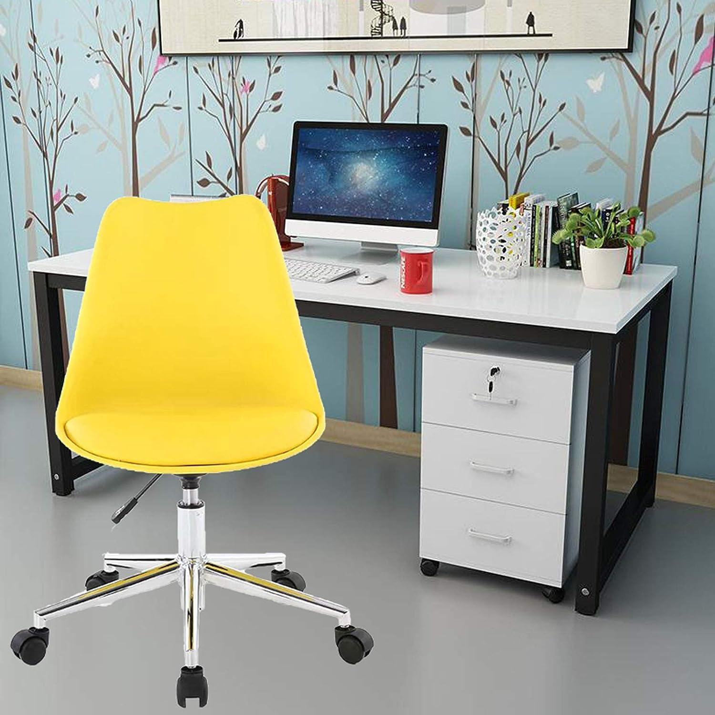 Svängbar stol mitten av ryggen dator skrivbordsstol litet läder ergonomisk uppgiftsstol bekväm arbetsstol med svamp PP material justerbar stark bärkraft, blå, 48 x 43 x 96 cm gUL