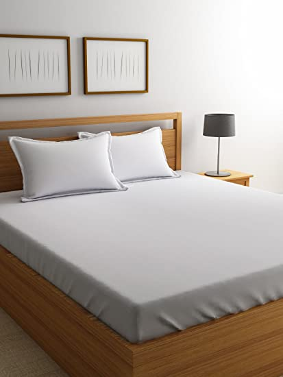 Good Satin Bedsheets For Double Bed, High Thread Count Bedsheet, Dreamscape 800  TC White Premium