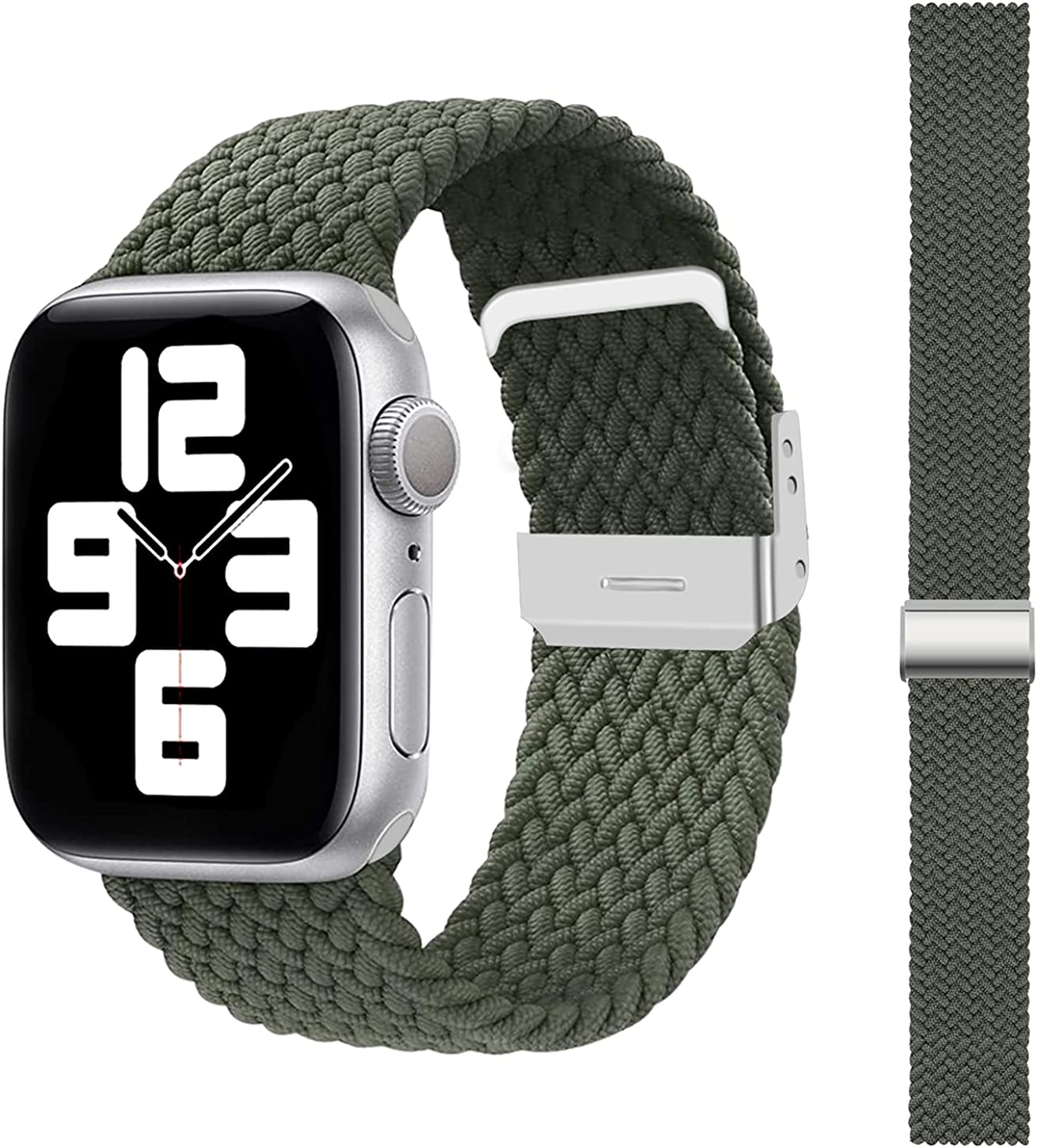 SEMKONT Compatible with Apple Watch Band 38mm 40mm 42mm 44mm, Stretchy Elastic Nylon Adjustable Replacement Watch Strap, Compatible for Apple Watch Series SE/6/5/4/3/2/1