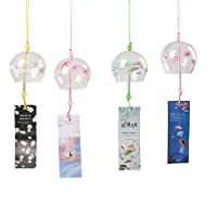 1, Green Falytemow Japanese Wind Chimes Green Grass Wind Bells Handmade Glass Japanese Style Pendant for Birthday Gift Outdoor or Indoor Home Decors