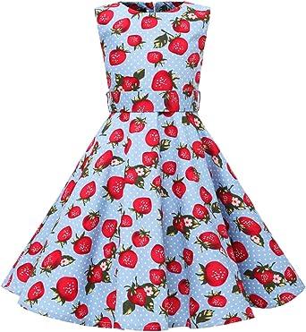 vkstar® Niños vestido años 50 Vintage estilo halter sin mango 1950s Audrey Hepburn vestido niña Rockabilly Swing: Amazon.es: Ropa y accesorios