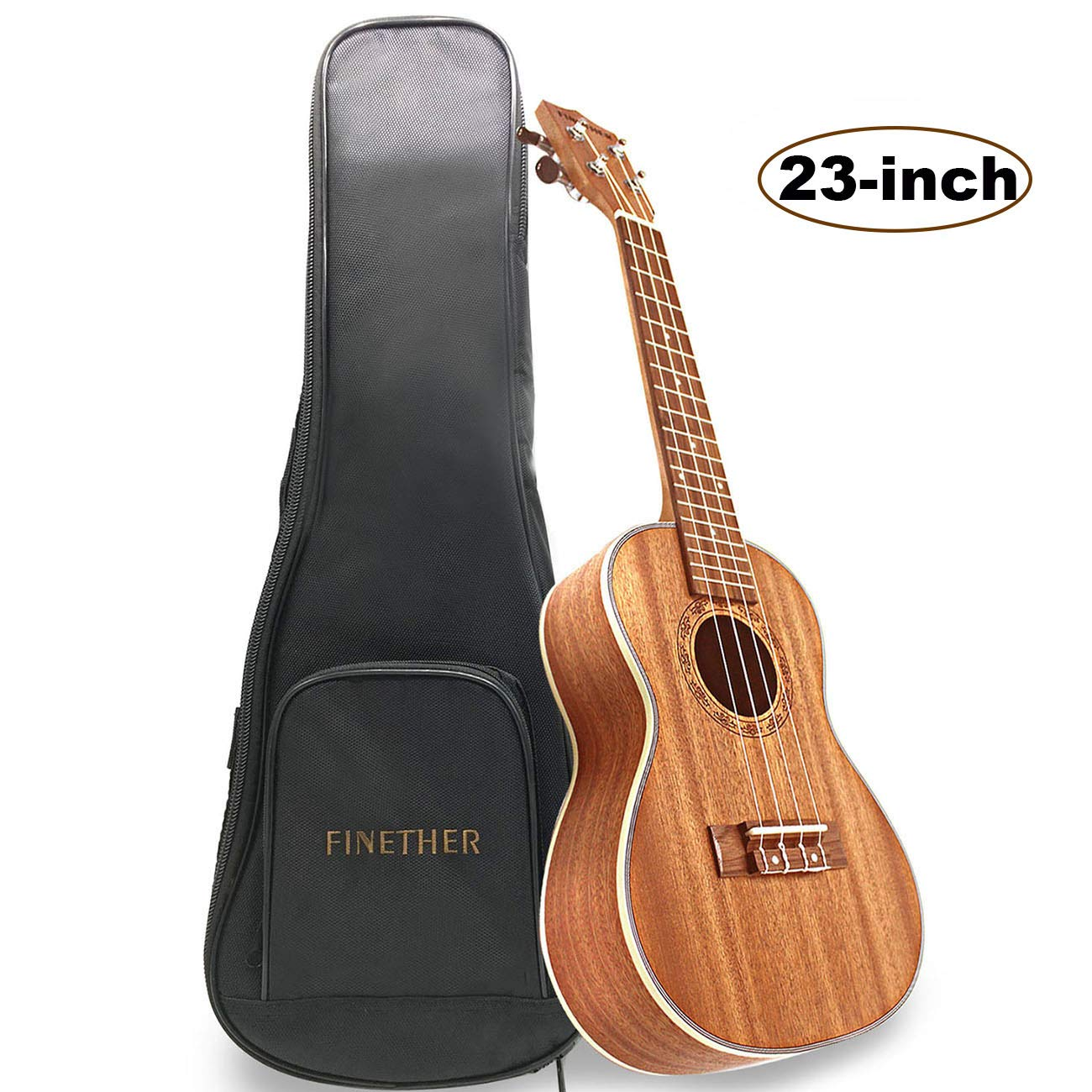 FINETHER 23-inch Ukulele Concert Uke Acoustic Mahogany Wood Small Guitar Hawaii 4 Stringed Instrument for Beginners
