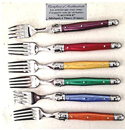 6 reales cubiertos Forks Laguiole hecho en Francia
