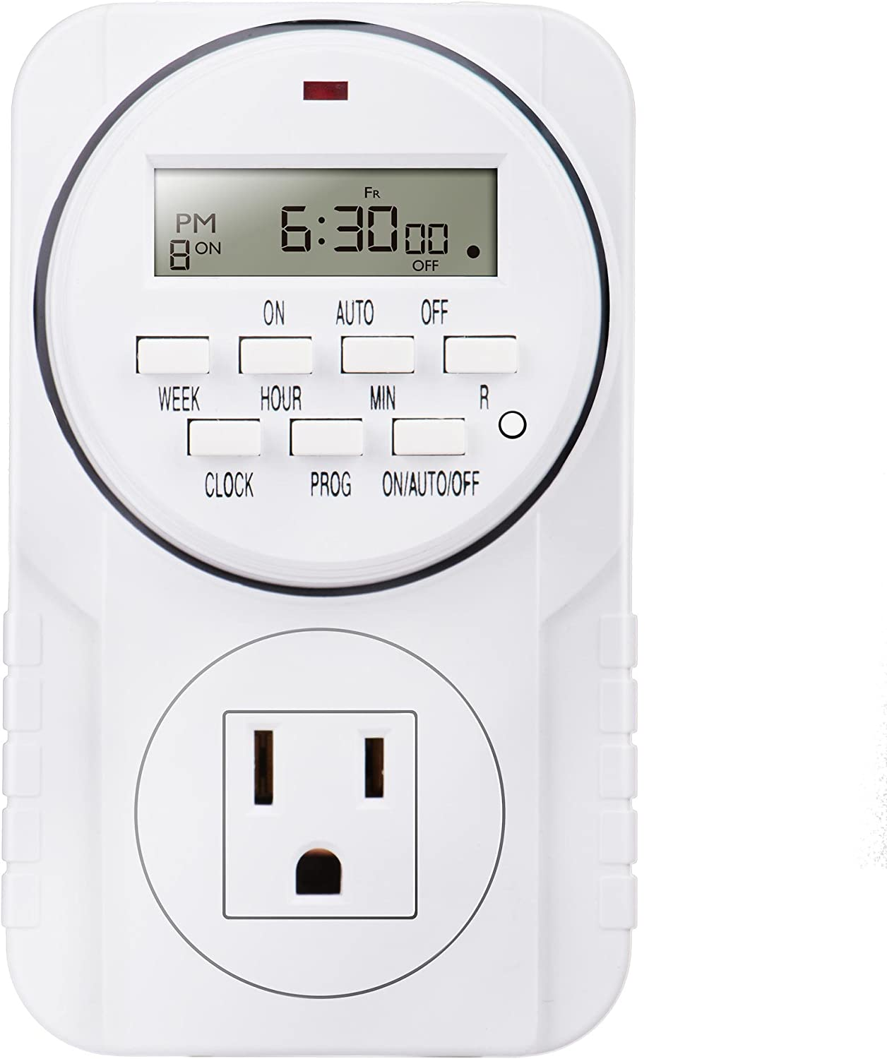 Heavy Duty 7 Days Smart Digital Programmable Outlet Timer with LCD Display for Indoor Lights Lamps, Set Up to 8 On/Off Programs for Plug-In Electrical Outlets