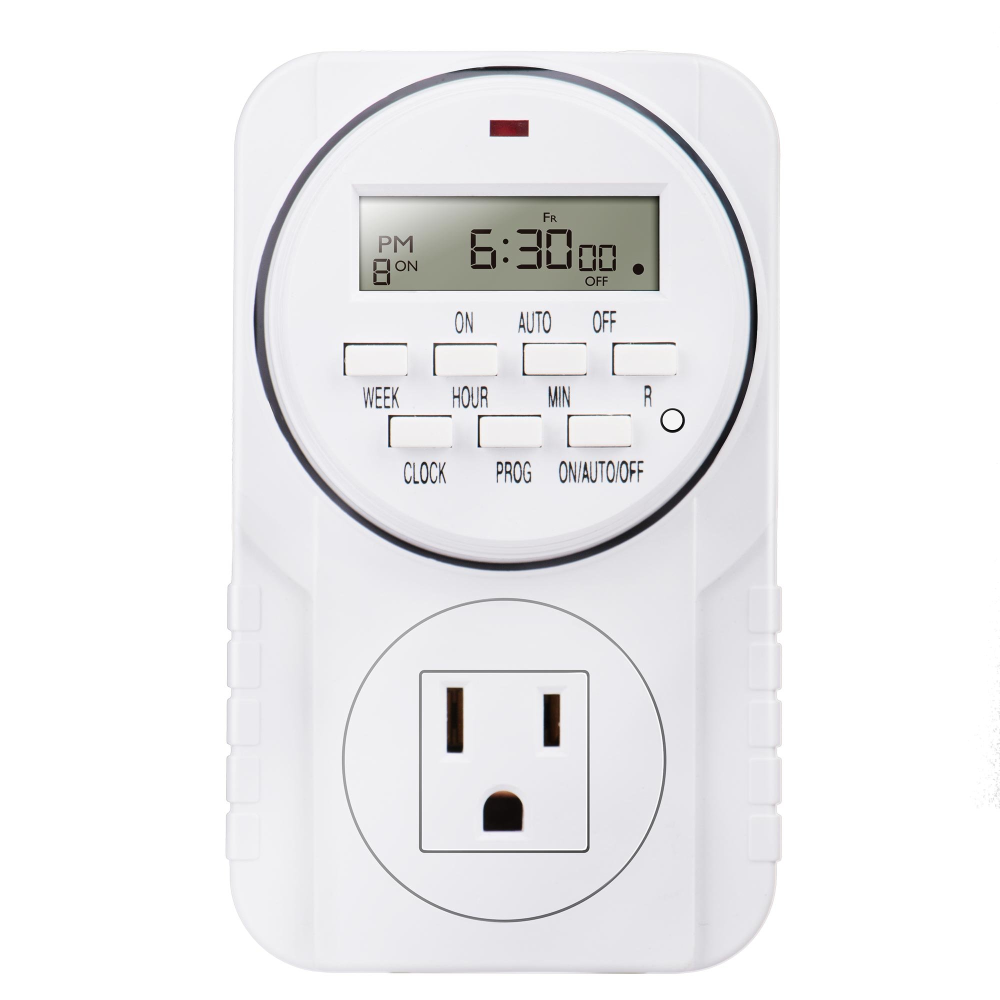 Heavy Duty 7 Day Smart Digital Programmable Outlet Timer with LCD Display for Lights Lamps, Set Up to 8 On/Off Programs for Plug In Electrical Outlets