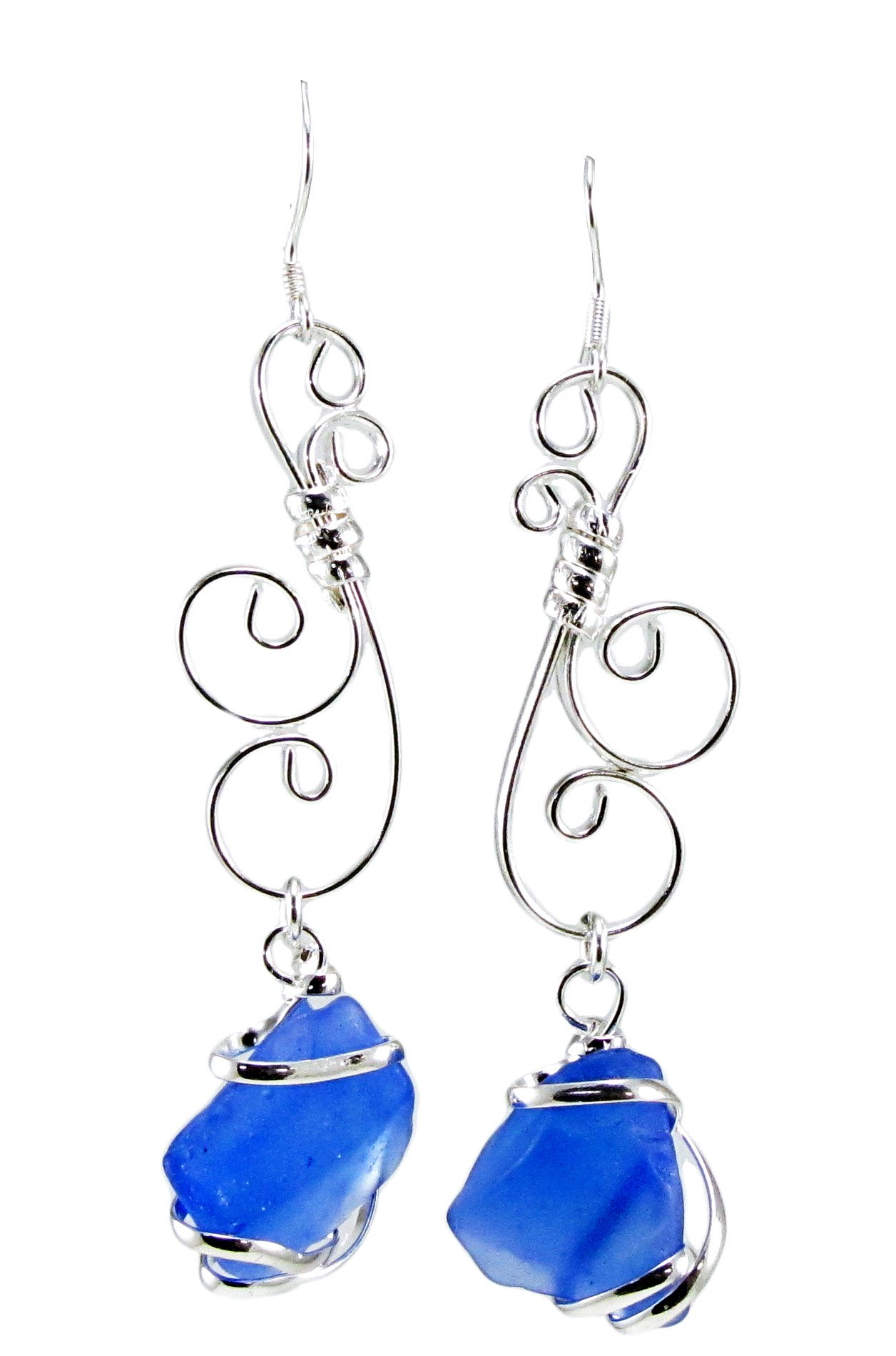Sea Glass Hand-Crafted Wire Wrapped Filigree Drop Earrings in Cobalt Blue